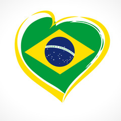 Love Brazil emblem colored. Independence day of Brazil vector background yellow heart on national flag colors