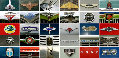 Combination of pictures shows the hood ornaments of British car brands during British Car Meeting in Mollis