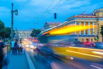 Sankt-Peterburg, Russia - August, 19, 2017: evening traffic in Sankt-peterburg