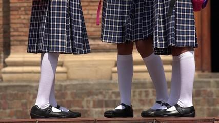 Catholic School Girls With Skirts And White Socks