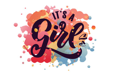 Vector illustration of It's a Girl text for baby shower.