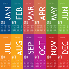 calendar for year 2018 with color card set two