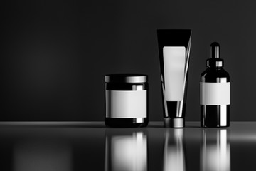 Set of black cosmetic bottles with white blank labels on the reflective shiny background. 3D illustration.
