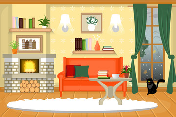The interior of the living room. Cozy room with furniture. A fireplace, a sofa, a table. Cartoon. Vector.