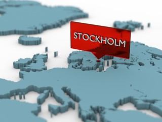 3d world map sticker - Stockholm