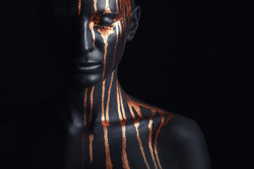 Photo sur Toile Body Paint Black makeup
