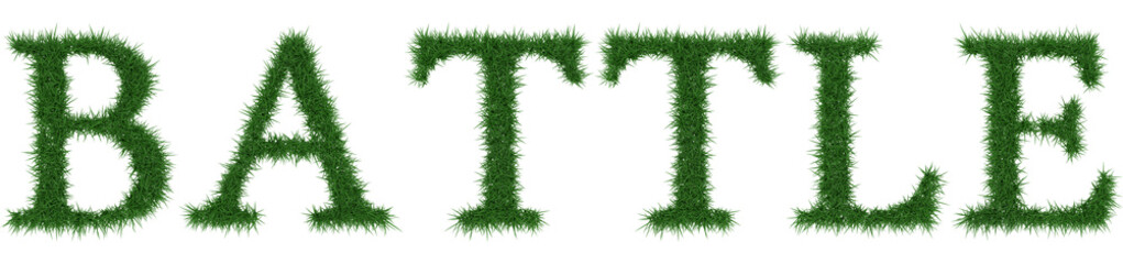 Battle - 3D rendering fresh Grass letters isolated on whhite background.