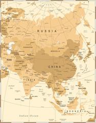 Asia Map - Vintage Vector Illustration