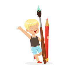 Cute blonde little boy holding giant red pencil and paintbrush cartoon vector Illustration