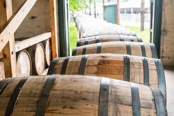 Bourbon Barrels Heading for Aging