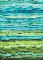 Blue and Green Waves. Hand Drawn Watercolor Background