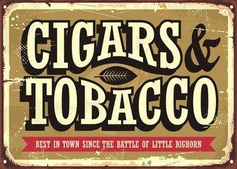 Cigars and tobacco vintage sign concept with creative typo on old golden background