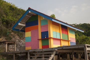 Colorful barn on the coast of South China sea, Thailand