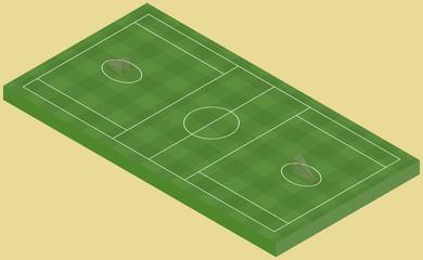 Isometric lacrosse field, isolated image