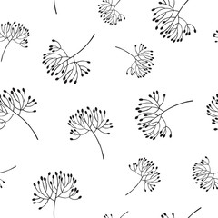 Flowers bud silhouette seamless pattern.
