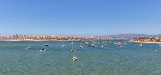 Bay of Marina Port of Portimao. With yachts