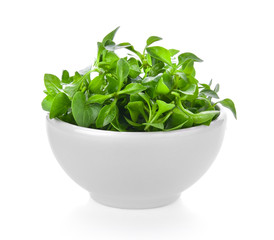 watercress in a bowl isolated on white background