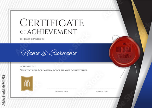 Luxury Certificate Template With Elegant Silver Blue Border Frame Diploma Design For Graduation Or Completion Stock Image And Royalty Free Vector Files