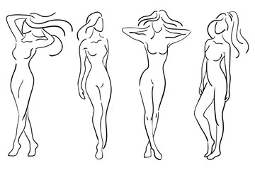 A set of female figures. Collection of outlines of young girls. Stylized slender body. Linear Art. Black and white vector illustration. Contour of a slender figure.