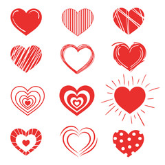 Set of red hearts. Collection of stylized hearts with patterns. Symbol of love. Vector illustration for Valentine's day.