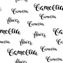 Camellia flower calligraphy seamless pattern. Vector Illustration.