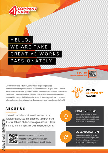 A4 Orange And Professional Flyer Template With Abstrack Background