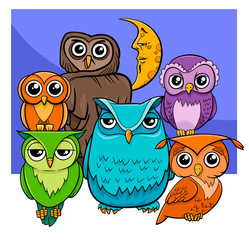 owls group cartoon animal characters