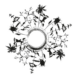 Floral background with meadow grasses, herbs and flowers outlines. Hand drawn vector illustration of wild flowers, herbs and grasses.Thin delicate lines silhouettes of different plants.