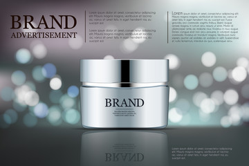 Beauty anti aging cream ad. Cosmetics package design. 3d vector beauty illustration. Moisturizing facial cream mask glass jar on sparkling liquid background with water bubbles. Product package mock-up