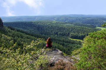 View from little Zschirnstein, the highest mountain of the Saxon Switzerland, Germany