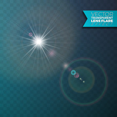 Realistic vector lens flare light effect on transparent background.