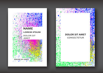 Neon Watercolor explosion shape artistic covers design set. Decorative texture paint fluid colors white backgrounds. Trendy template vector illustration for flyer, business card, poster, banner