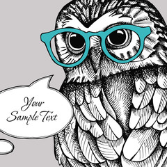 Card for your text with the image of an owl with glasses. Vector illustration.