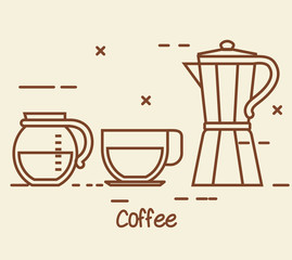 set of coffee elements and accessories concept vector illustration