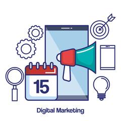 digital marketing mobile loudspeaker calendar target search icons vector illustration