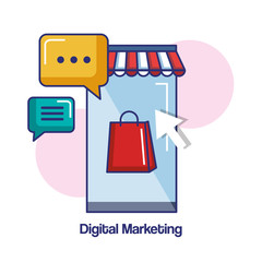 digital marketing mobile phone shop chat message online vector illustration