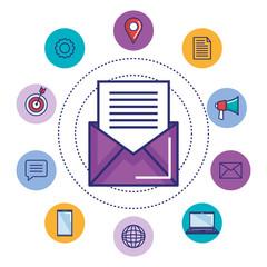 email marketing digital social media concept design vector illustration