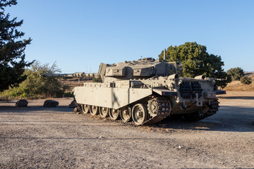 The  Israeli tank is after the Doomsday (Yom Kippur War) on the Golan Heights in Israel, near the border with Syria