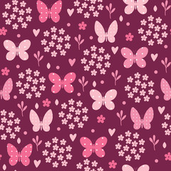 Seamless pattern with butterfly, flowers and hearts. Vector illu