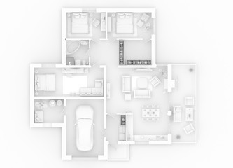 appartment mockup of furnished home apartment