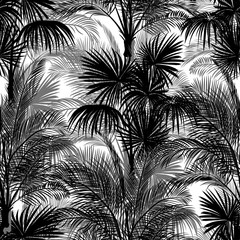 Seamless monochrome tropical pattern of palm trees. Black and white background for a Hawaiian shirt.