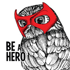 Portrait of a owl wearing the red mask of hero. Vector illustration.