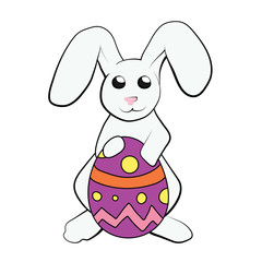 Rabbit holding Easter Egg