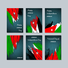 Jordan Patriotic Cards for National Day. Expressive Brush Stroke in National Flag Colors on dark striped background. Jordan Patriotic Vector Greeting Card.