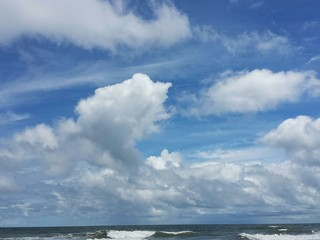 Beautiful view on the sky, clouds and ocean