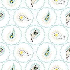 Paisley pattern seamless vector. Light blue folk floral texture for textile, fabric print and clothes.