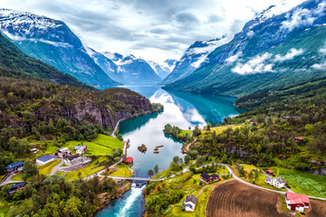 Ingelijste posters Noord Europa Beautiful Nature Norway aerial photography.