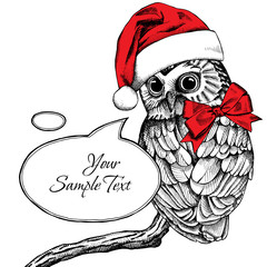 Christmas card. Image of an owl in Santa's hat and with bow. Vector illustration.
