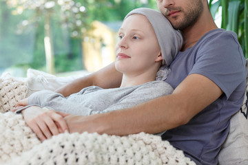 Supporting tired wife after chemotherapy