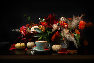 Autumn bouquet on black background with copy space